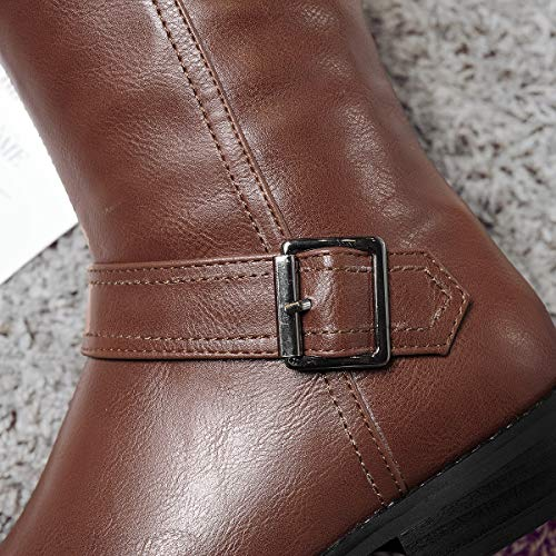 Vitalo Buckle High Womens Horse Boots Low Calf Riding Brown Wide Up Heel Zip Knee ZHpwgZq