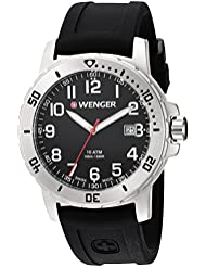 Wenger Mens Off Road Swiss Quartz Stainless Steel and Silicone Casual Watch, Color:Black (Model: 01.1341.102)