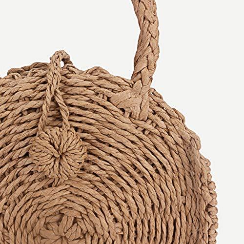 Dwqlx kvinnor vävd rund rotting mini halmväska bali bohemisk strand cirkel handväska sommar handgjorda retro stickade messengerväskor