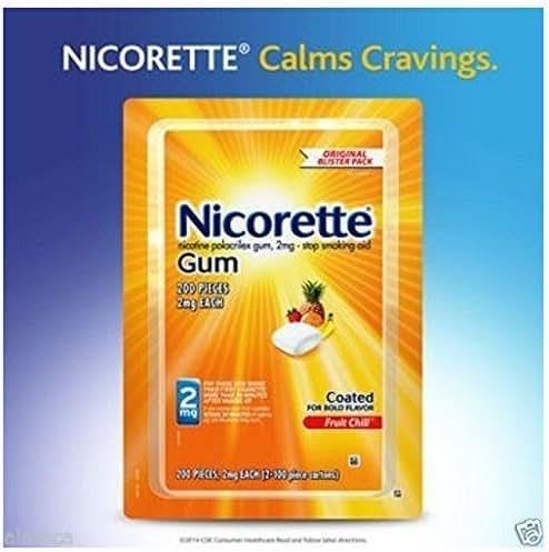 Nicorette Gum, Fruit Chill Flavor, 2 mg, 200 Count