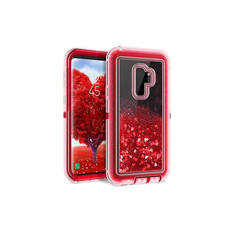 Dexnor Compatible Samsung Galaxy S9 Plus Case Glitter 3D Bling Sparkle Flowing Liquid Case Clear 3 in 1 Shockproof TPU Silicone Core + PC Frame Case Cover for Girls/Women - Red