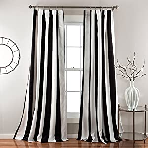 2 piece 84 inch bold black white rugby stripes Bold black and white striped curtains