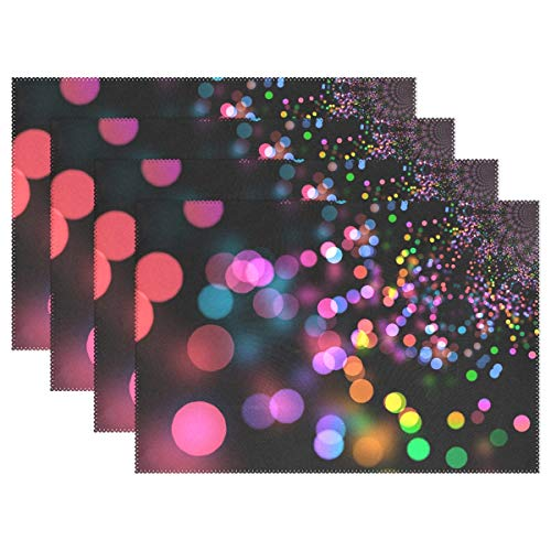 - VNASKL Bokeh Light Reflections Light Abstract Placemats Set of 4 Heat Insulation Stain Resistant for Dining Table Durable Non-Slip Kitchen Table Place Mats