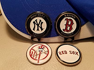 Double Sided MLB Baseball Ball Markers with Black Hat clip