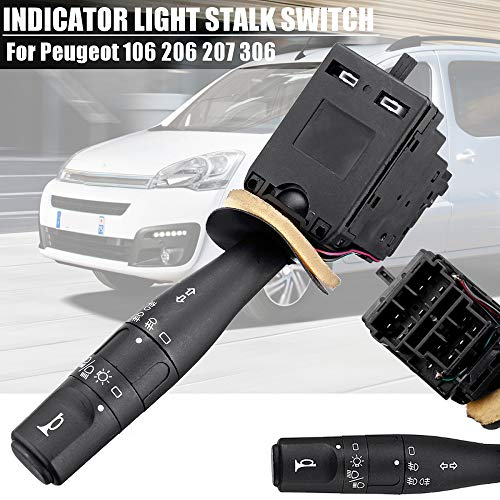 KDKDKLMB Car Turn Signal Indicator Light Stalk Switch,For Peugeot 106 206 207 306 Unit with Headlight Switch Auto horn: