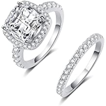 Mars wings 925 Sterling Silver CZ Diamond Engagement Wedding Ring Sets Fairy Noble for Women Girls 2PC
