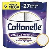 Cottonelle Ultra ComfortCare Soft Toilet Paper, 6 Family Mega Rolls, Bath Tissue