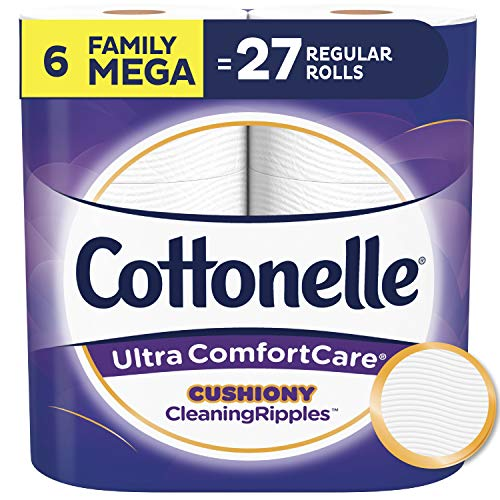 Cottonelle Ultra ComfortCare Toilet Paper with Cushiony CleaningRipples, Soft Biodegradable Bath Tissue, Septic-Safe, 6 Family Mega Rolls
