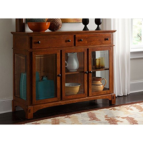 A-America Server in Cognac Oak Finish - Glass Oak Sideboard