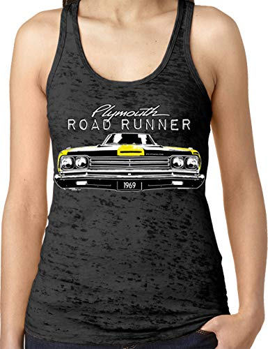 Amdesco Ladies Plymouth Road Runner Officially Licensed Burnout Racerback Tank Top, Black XL ()