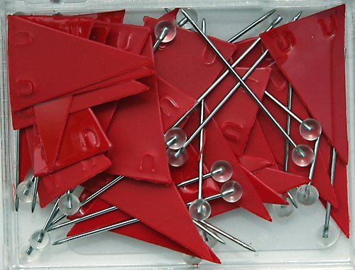 Moore Red Pennant Map Push Pins