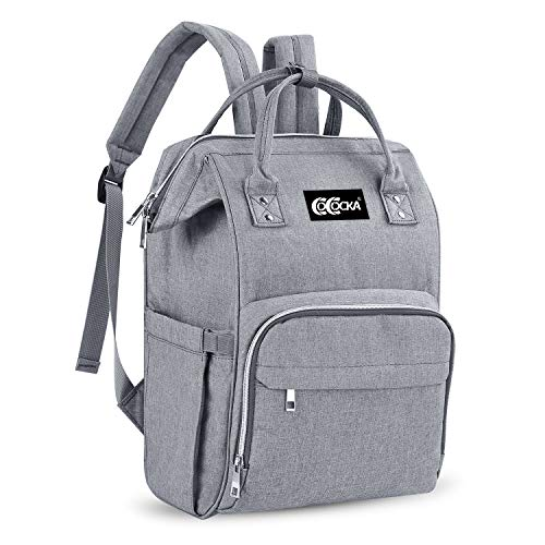 Backpack Diaper Bag, Multi-Function Travel Waterproof Nappy Chaning Bag for Baby Care, Large Capacity Stylish Insulated Pockets Baby Diaper Bag Backpack (Gray)
