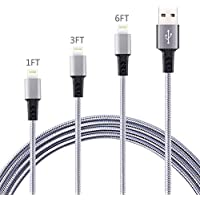 3-Pack (1ft, 3ft & 6ft) Bynccea Braided Nylon Lightning Charge & Sync Cable (Gray White)