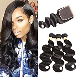 VTAOZI Hair Brazilian Body Wave With Closure Natural Color 100% Unprocessed Brazilian Virgin Hair With Closure 3 Bundles Human Hair Weave With Lace Closure Free Part (18 18 18 & 16 Free Part)