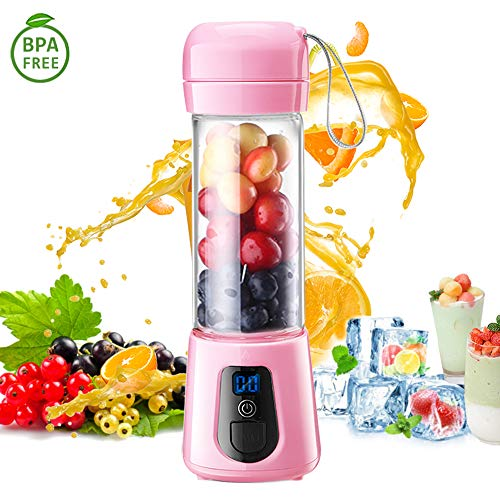 Portable Blender,Updated 2019 Version Glass Grade USB Rechargeable Single Serve Personal Blender For Shakes and Smoothie Juicer Bottle Fruit Mixer(6-Blades),4000mAh 15 Oz Multifunctional Travel Juice Cup for On The Go FDA BPA Free (Pink) (Best All Around Juicer)