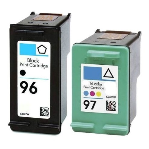 2 PACK Remanufactured Ink Cartridge Replacement for HP 96 For HP96 C8767WN + For HP 97 For HP97 C9363WN BK/CL INK (1 Black, 1 Tri-Color) 2 Pack
