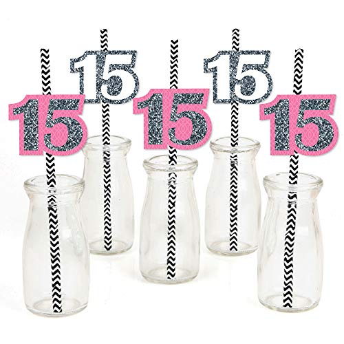 Quinceanera Pink - Sweet 15 - Paper Straw Decor - Birthday Party Striped Decorative Straws - Set of 24 ()