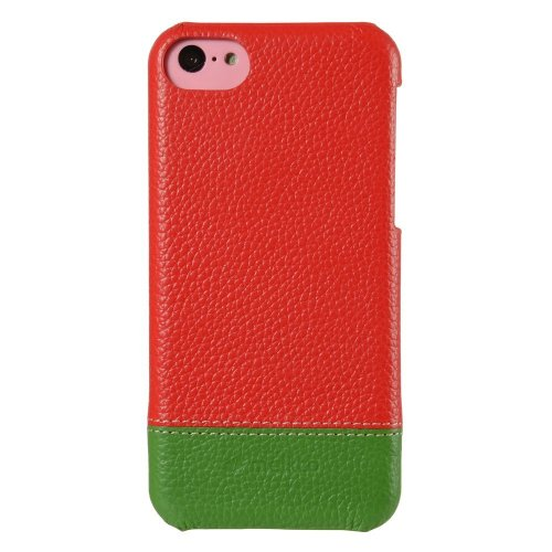 Melkco APIPONLOLT2RDGNLC Mix and Match Line Leder Snap Case für Apple iPhone 5C rot/grün