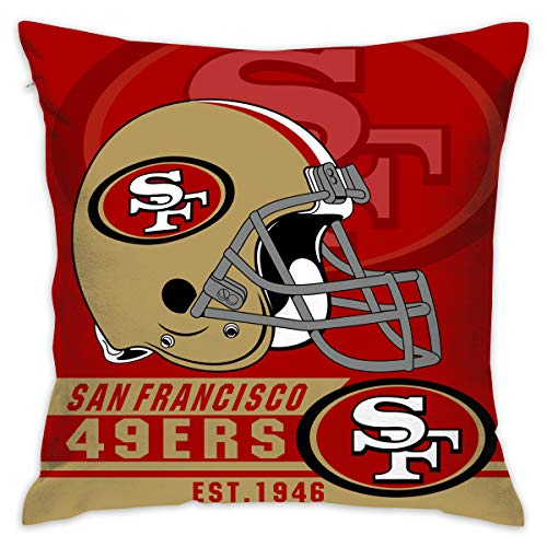 - Marrytiny Custom Pillowcase Colorful San Francisco 49ers American Football Team Linen Bedding Pillow Covers Pillow Cases for Sofa Bedroom Bedding Car Home Decorative - 18x18 Inches