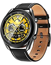 W3 Stainless Smart Watch 1.3 Inch Full Round Touch Screen With Leather & Silicone Strap Bluetooth Call Rotating Bezel Heart Rate Monitor Fitness Tracker Sports Watch For Android & IOS - Black