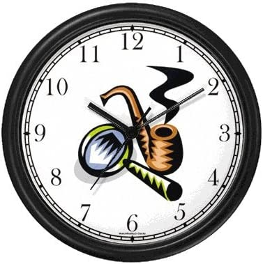 WatchBuddy Detective Sherlock Holmes Pipe and Magnifying Glass Wall Clock Timepieces Black Frame