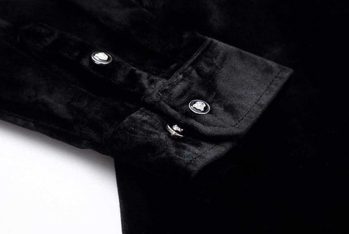 WSPLYSPJY Mens Lapel-Neck Velvet Long-Sleeve Slim-Fit Floral Button Front Shirts