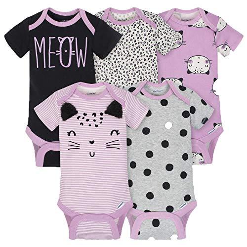 Gerber Girls 5-Pack Onesies Brand Short Sleeve Bodysuits (Newborn, Purple Cats) (Cat Newborn Bodysuit)