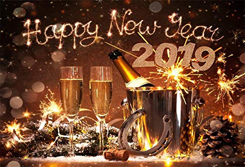 Laeacco 7x5FT Vinyl Backdrop New Years Eve Celebration Photography Background 2019 Happy New Year Champagne Bottles Bucket Horseshoe Lucky Charm Festival Background Bokeh Snowflakes Holiday