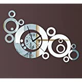 DIY Modern Decorative Acrylic Wall Clock, Like Thin Mirror, Thick Rings Clock, for Home Living Room Kitchen Bedroom Baby or Child Room New Arrival Novelty Design Luxury 3d Crystal Mirror Wall Silent Watch Extra Large Wall Clocks Silver