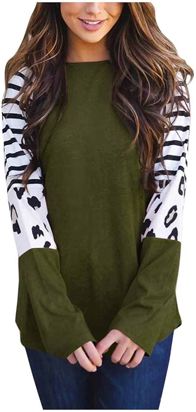 Rrive Womens Patchwork Casual Print Long Sleeve Loose Blouse T-Shirt Top