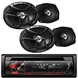 Pioneer CD MP3 Playback AM/FM Radio Single Din Car Receiver with Remote, 4x JVC 6x9' 400W Max 3-Way Coaxial Speakers