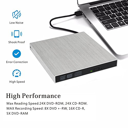 External DVD Drive USB 3.0, OfficeWinner Aluminum Portable CD DVD +/-RW Drive Slim DVD/CD Rom Rewriter Burner Writer, for Laptop, Macbook Pro, Macbook Air Support Mac OSX Windows Vista/7/8/10, Silver by OfficeWinner (Image #3)