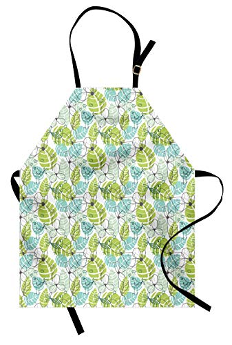 Lunarable Floral Apron, Silhouettes of Flowers and Love Birds on Big Leaves Soft Colors Graphic Print, Unisex Kitchen Bib Apron with Adjustable Neck for Cooking Baking Gardening, White Green