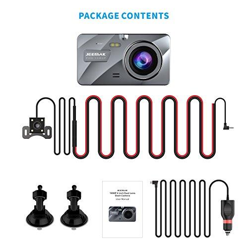 "JEEMAK 4/"" Dual Dash Cam 1080P Front+Rear Car Dashboard Camera 170° DVR Recorder"