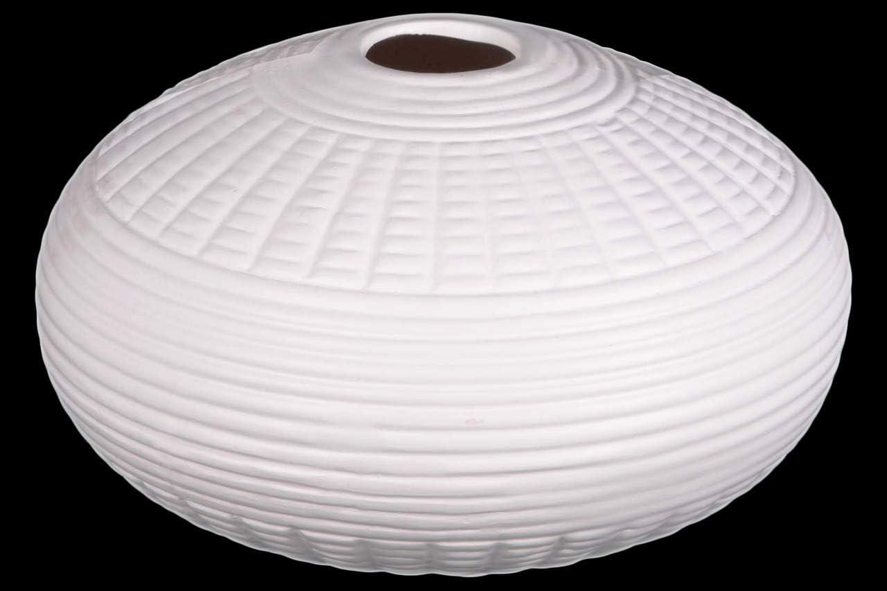Benjara, White Benzara BM179510 Patterned Ceramic Vase in Round Shape