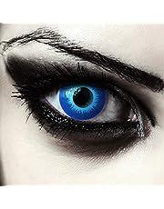 Designlenses, Ijsblauw gekleurde elf contactlenzen voor Halloween carnaval wit wandelaar kostuum, 2 stuks, zonder dioptrie, model: Blue Elfe