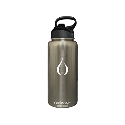 055036b912 Image Unavailable. Image not available for. Color: Refresh2go 11020-SL 32oz  Excursion Vacuum Insulated Stainless Steel Filtered Water Bottle ...