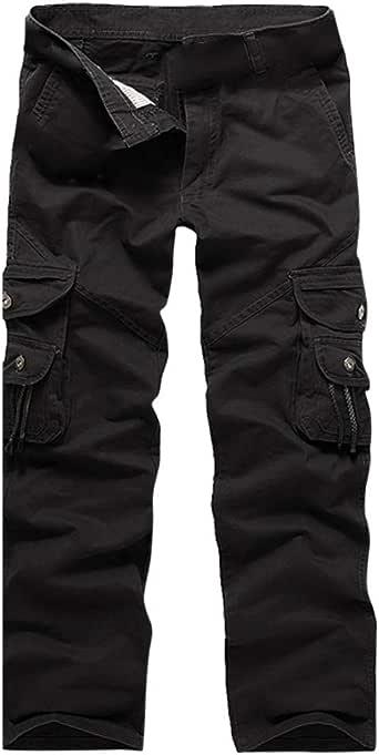 STRIR Pantalones Largos de Trabajo Cintura Elástica Algodón Ancho para Hombres Cargo Deportes Ocasional, Múltiples Bolsillos, Laborales, Casuales, Recto, Suelto: Amazon.es: Ropa y accesorios