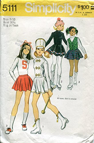1970s Simplicity Pattern 5111 ~ Girls' and Young Junior/Teens' Cheerleader, Majorette and Skating Costumes ~ Size (70s Cheerleader Costume)