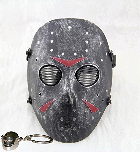 Gmasking Jason Voorhees Hockey Airsoft Face Protection Paintball Mask (Sliver-Black) (Hockey Mask Jason)