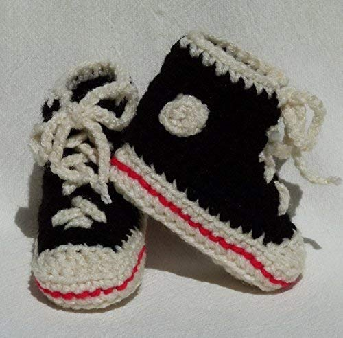 Baby Booties High Top Tennis shoe style choose a size - black and off white