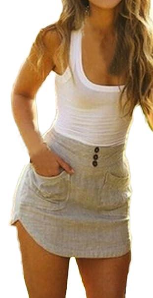 Donna Eleganti Vestiti Da Giorno Senza Maniche Estivi Gilet Corto Con Tasca  Slinky Partito Giuntura Abito ad64e25372e