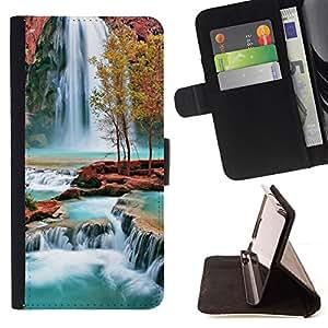 For Samsung ALPHA G850 - Waterfall Africa /Funda de piel cubierta de la carpeta Foilo con cierre magn???¡¯????tico/ - Super Marley Shop -