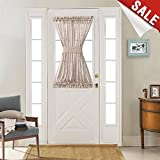 40 inch long door curtain panels - Sheer French Door Curtains Linen Textured French Door Panel 40 inches Long Curtains for French Doors with Single Tieback, Taupe, 1 Panel