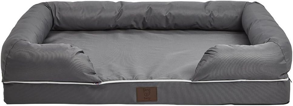 Bunty Dog Pet Washable Soft Foam Waterproof Mattress Basket Bed Sofa Pad Mat - Grey - Large