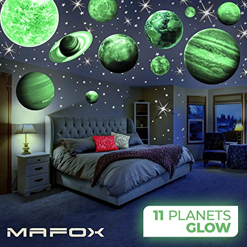 MAFOX 11 Glow in The Dark Planets, Bright Solar System Wall Stickers - Sun Earth Mars and so on, 11 Glowing Ceiling Decals for Bedroom Living Room, Shining Space Decoration for Kids for Girls ()
