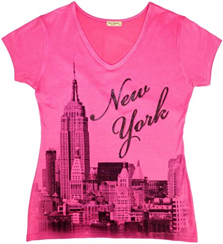 T-shirt Pink Womens York New (Sweet Gisele New York Skyline V Neck T-Shirt for Women with Rhinestone (X-Small, Pink))