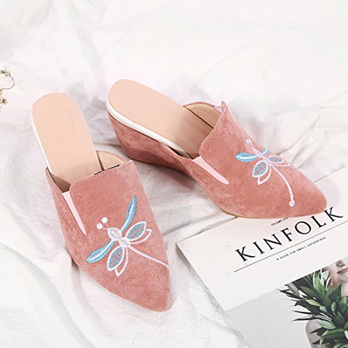 with Artfaerie Heel Mules Pointed Pink Slippers Comfortable Outdoor Women's Wedge Toe High Embroidery Shoes AqpwrA0F