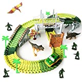 Dinosaur Race Track Toys Jurassic World Create Road with 144 Flexible Tracks Playset Toy Cars Hanging Bridge Dinosaurs Soldier Toys ect. Perfect Toy Gifts for 3+Year Boys (Track-144)
