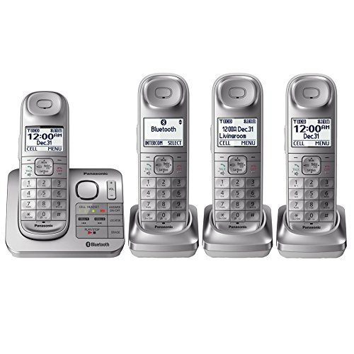 Panasonic KX-TGL463S Silver Expandable Digital Cordless Phone with 4 Handsets (Panasonic Cordless Phones Silver compare prices)